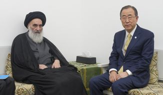 "U.N. Secretary-General Ban Ki-Moon, right, meets with Grand Ayatollah Ali al-Sistani, Iraq's most revered and influential Shiite cleric, in the southern city of Najaf, Iraq, on Thursday, July 24, 2014. Mr. Ban urged lawmakers during his visit to ""find a common ground"" so they can address the crisis sparked by the Islamic State group, whose push has threatened to fracture Iraq. (AP Photo/UN Photo, Eskinder Debebe)"