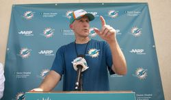 Miami Dolphins coach Joe Philbin talks to the media after NFL football training camp Friday, July 25, 2014, in Davie, Fla. (AP Photo)