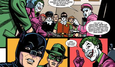 The Joker and Colonel Gumm attack Robin and Kato in the comic book series Batman '66 Meets the Green Hornet. (Courtesy Dynamite Entertainment and DC Comics)