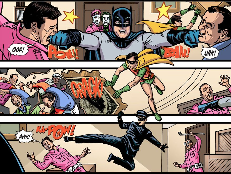 The comic book series Batman '66 Meets the Green Hornet pays homage to a famed televised superhero team-up in the 1960s. (Courtesy Dynamite Entertainment and DC Comics)