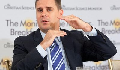 Dan Pfeiffer, senior adviser to President Obama, speaks at a breakfast hosted by the Christian Science Monitor in Washington on July 25. (Michael Bonfigli/The Christian Science Monitor)