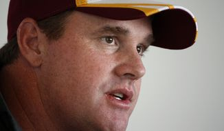 Washington Redskins head coach Jay Gruden speaks during a media availability at the team's NFL football training facility, Friday, July 25, 2014 in Richmond, Va. (AP Photo)