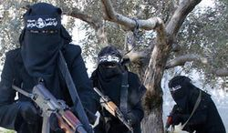 Women from the Islamic State of Syria and the Levant's al-Khansaa' Brigade. (Image: SyriaDeeply.org)