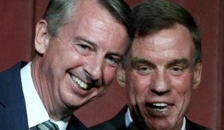 Republican Ed Gillespie, left, and Sen. Mark Warner, right, laugh after a debate at The Greenbrier in White Sulphur Springs, W.Va., Saturday, July 26, 2014.  (AP Photo/Richmond Times-Dispatch, Bob Brown)