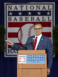 National Baseball Hall of Fame inductee Joe Torre speaks during an induction ceremony at the Clark Sports Center on Sunday, July 27, 2014, in Cooperstown, N.Y. (AP Photo/Mike Groll)