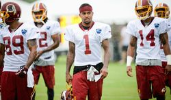 """The Redskins upgraded their passing game with the addition of wide receiver DeSean Jackson (1), but the process of getting every player together as a cohesive offense has been an adjustment. """"Honestly, that's what practice is for,"""" Jackson said. (Andrew Harnik/The Washington Times)"""