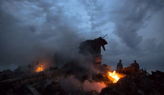 People walking among burning debris at the crash site of Malaysia Airlines Flight 17 near the village of Hrabove, eastern Ukraine. Ukrainian armed forces mounted a major onslaught against pro-Russian separatist fighters Sunday in an attempt to gain control over the area.  (AP Photo/Dmitry Lovetsky, File)