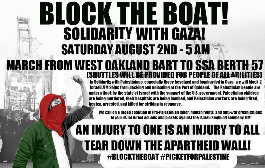 """""""Block the Boat for Gaza"""" plans to block the Port of Oakland this Saturday to prevent two commercial shipping tankers partially owned by the Israel Corporation from docking and unloading. (Facebook)"""