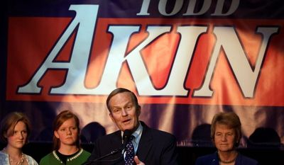 """Former Republican Rep. Todd Akin of Missouri argues he was the victim of a """"political assassination"""" and says he stands by point that the probability of pregnancy in the cases of rape are less than it would be otherwise. Shortly after winning his party's nomination for the Senate in August 2012, Mr. Akin said in a radio interview that women's bodies could somehow block an unwanted pregnancy in cases of """"legitimate rape."""" (Associated Press)"""