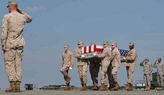 The body of Lance Cpl. Gregory T. Buckley Jr. arriving at Dover Air Force Base in August 2012. (Photo from a Facebook page established by his family.)