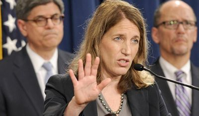 Health and Human Services Secretary Sylvia Burwell, center, flanked by Treasury Secretary and Managing Trustee Jacob J. Lew, left, and Labor Secretary Thomas E. Perez, speaks at a news conference at the Treasury Department in Washington, Monday, July 28, 2014, to discuss the release of the annual Trustees Reports. (AP Photo/Susan Walsh)