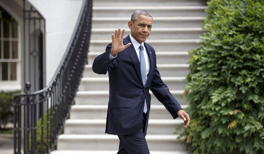 ** FILE ** This July 22, 2014, file photo shows President Barack Obama as he departs the White House to board Marine One in Washington. (AP Photo/J. Scott Applewhite, File)