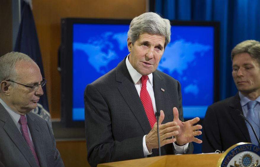 Secretary of State John Kerry, joined by Rabbi David Saperstein (left), nominated to become ambassador at large for international religious freedom at the State Department, and Tom Malinowski, assistant secretary of state for democracy, human rights and labor, speaks at the State Department in Washington, Monday, July 28, 2014, during a news conference to announce the 2013 Annual Report on International Religious Freedom. The U.S. says millions of people were forced from their homes because of their religious beliefs last year. (AP Photo/Cliff Owen)