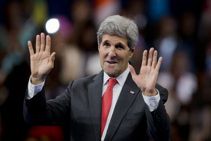 Secretary of State John Kerry gestures while speaking at the opening of the Presidential Summit for the Washington Fellowship for Young African Leaders, Monday, July 28, 2014, in Washington.   (AP Photo/Manuel Balce Ceneta)