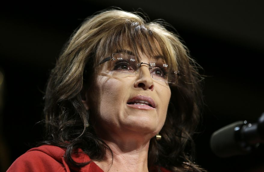 Former Alaska Gov. Sarah Palin speaks during a campaign rally in West Des Moines, Iowa, on April 27, 2014. (Associated Press) **FILE**