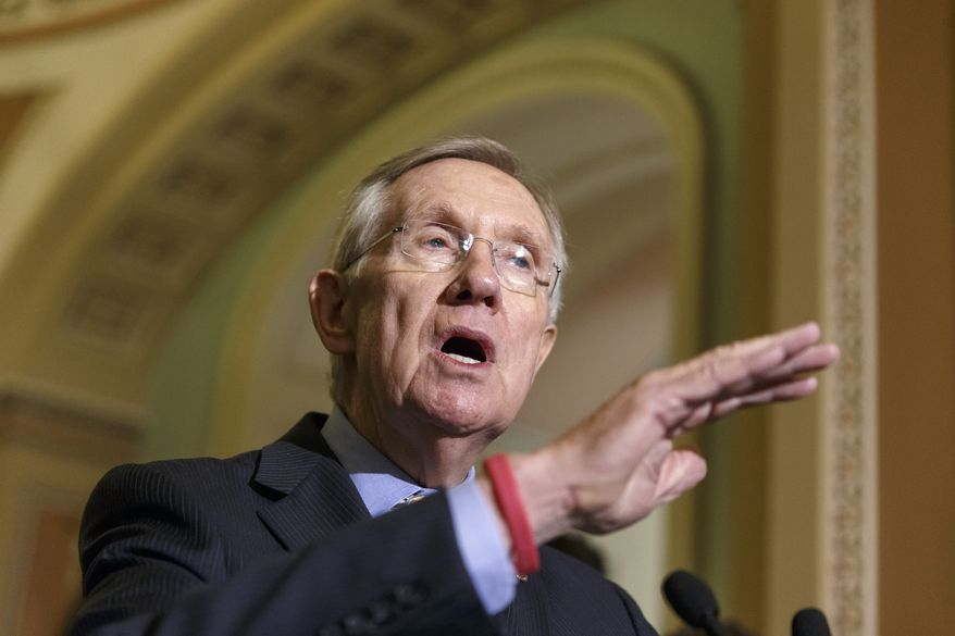 Senate Majority Leader Harry Reid of Nev., speaks to reporters on Capitol Hill in Washington, Tuesday, July 29, 2014, after a Democratic caucus meeting. Democrats and Republicans in Congress vowed urgent support for a $225 million missile defense package for Israel, boosting the likelihood that legislation will clear Congress before lawmakers begin a monthlong vacation at week's end.    (AP Photo/J. Scott Applewhite)