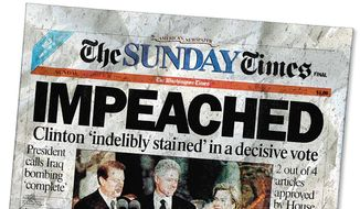 Clinton Impeachment Illustration by Greg Groesch/The Washington Times