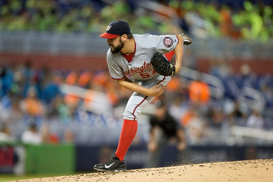Nationals starter Tanner Roark allowed one run in seven innings on Wednesday against the Marlins to win his fourth start in a row. (Associated Press)