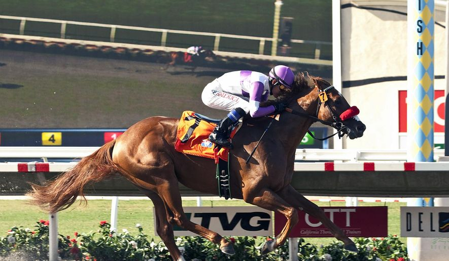 Reddam Racing's Wake Up Nick and jockey Mario Gutierrez win the $100,000 Graduation Stakes Wednesday, July 30, 2014 at Del Mar Thoroughbred Club, in Del Mar, Calif. (AP Photo/Benoit Photo) NO SALES