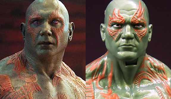 Actor Dave Bautista as Drax the Destroyer in the Guardians of the Galaxy movie compared to the Hasbro's Marvel Legends action figure version.