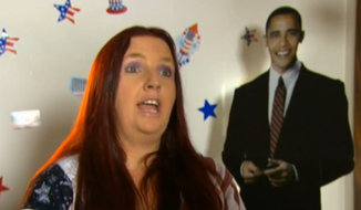 Australian Mandy Carter has vowed to ride her stationary bicycle the distance between Melbourne and D.C. in an attempt to get Barack Obama's attention. (Screen grab courtesy of jump-in.com.au)