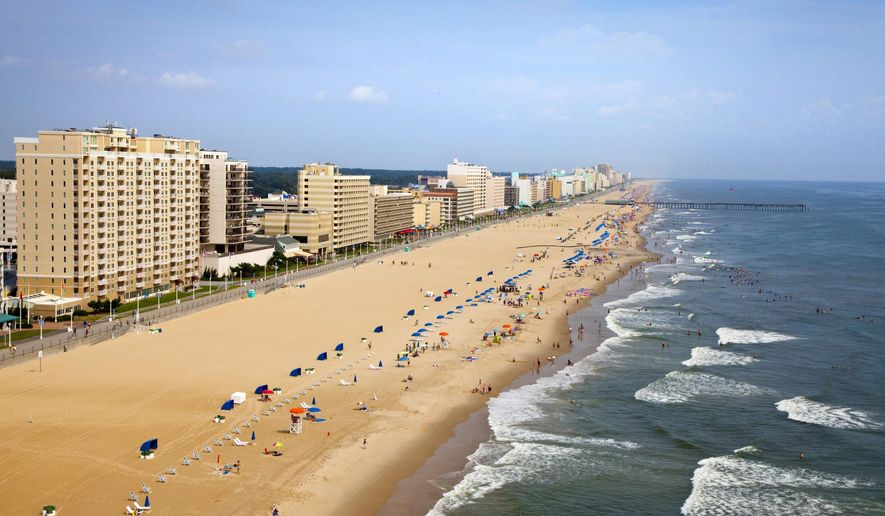 This undated photo provided by the Virginia Beach Convention and Visitors Bureau shows oceanfront beaches in Virginia Beach, Va. (AP Photo/Virginia Beach Convention and Visitors Bureau)