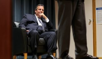 New Jersey Gov. Chris Christie made a stop in New Hampshire Thursday to campaign for Republican gubernatorial candidate Walt Havenstein, who is considered a long shot against incumbent Democratic Governor Maggie Hassan. Mr. Christie was heckled by a democrat during his speech. (Associated press)