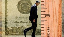 Obama Measuring Up Illustration by Greg Groesch/The Washington Times