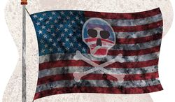 US Pirate Flag Illustration by Greg Groesch/The Washington Times