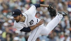 Detroit Tigers pitcher Joakim Soria throws against the Chicago White Sox in the seventh inning of a baseball game in Detroit,  Thursday, July 31, 2014. (AP Photo/Paul Sancya)