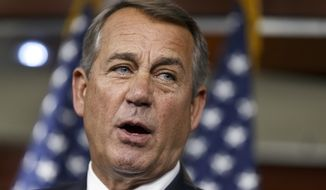 ** FILE ** House Speaker John Boehner of Ohio defends the work of the GOP during a brief news conference on Capitol Hill in Washington, Thursday, July 31, 2014, as Congress prepares to leave for a five-week summer recess. (AP Photo/J. Scott Applewhite)