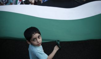 A child helps wave a huge Palestinian flag during a protest in Athens, Thursday, July 31, 2014. Hundreds of pro-Palestinian demonstrators took part in a rally to protest against civilian deaths in Gaza amid the ongoing conflict between Israel and Hamas militants. (AP Photo/Petros Giannakouris)