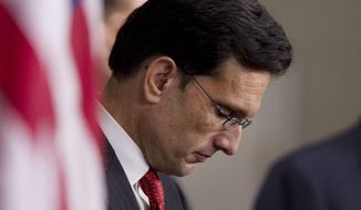"** FILE ** House Majority Leader Rep. Eric Cantor, R-Va., pauses during a news conference on the payroll tax cut on Capitol Hill on in this Dec. 22, 2011, file photo taken in Washington. The Richmond Times-Dispatch reported early Friday, Aug. 1, 2014, that Cantor says he will step down Aug. 18 to make sure constituents have a voice during the ""consequential"" lame-duck session. (AP Photo/Evan Vucci, File)"