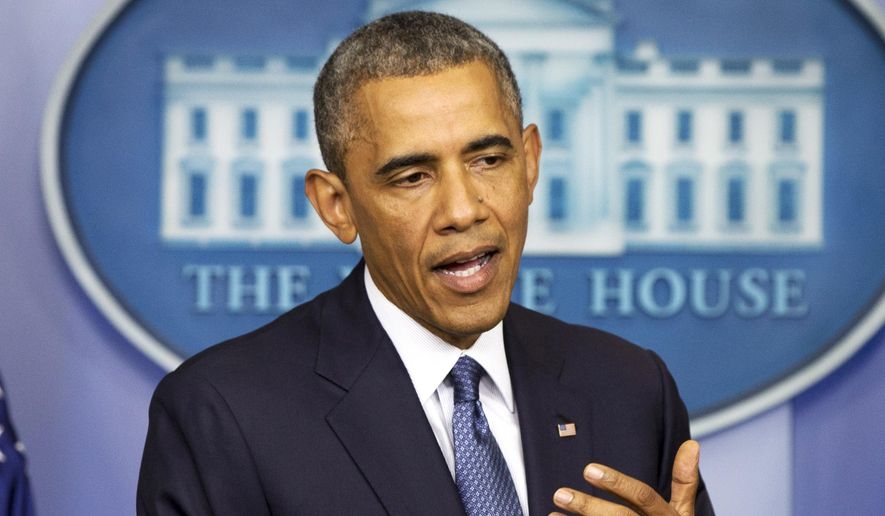 President Barack Obama speaks about Congress, foreign policy and immigration, Friday, Aug. 1, 2014, in the Brady Press Briefing Room of the White House in Washington. (AP Photo/Jacquelyn Martin)