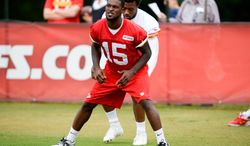 Kansas City Chiefs wide receiver A.J. Jenkins stretches on the side without pads during an NFL training camp practice at Missouri Western State University in St. Joseph, Mo., Friday, Aug. 1, 2014. (AP Photo/The St. Joseph News-Press, Sait Serkan Gurbuz)   MANDATORY CREDIT