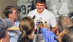 University of Tennessee football offensive lineman Mack Crowder answers questions at Neyland Stadium at the University of Tennessee Football Media Day Thursday, July 31, 2014 in Knoxville, Tenn. (AP Photo/The Daily Times, Tom Sherlin)