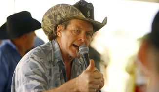 Rock musician Ted Nugent speaks during the Big Horn Basin Tea Party Picnic in Emblem, Wyo., on Aug. 2, 2014. (Associated Press/The Casper Star-Tribune, Dan Cepeda) **FILE**