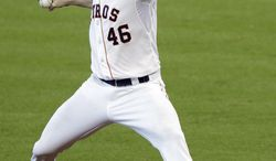Houston Astros starter Scott Feldman delivers a pitch against the Toronto Blue Jays in the fifth inning of a baseball game, Sunday, Aug. 3, 2014, in Houston. (AP Photo/Pat Sullivan)