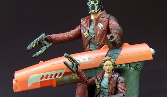Three examples of Star Lord's weapon include smaller versions from Hasbro's Guardians of the Galaxy Battle FX and Marvel Legends Infinite Series figures as well as the life size Nerf Quad blaster. (Photo by Joseph Szadkowski / The Washington Times)