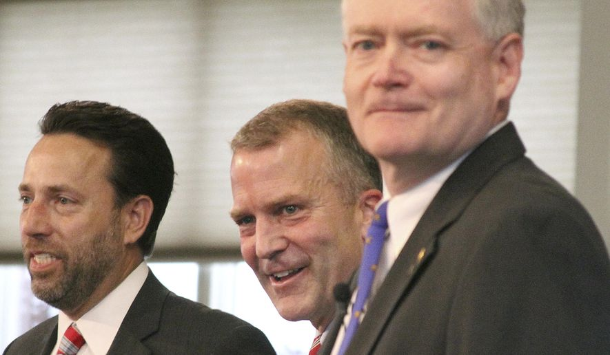 From left, U.S. Senate Republican candidates Joe Miller, Dan Sullivan and Lt. Gov. Mead Treadwell take part in a debate in Eagle River, Alaska, Monday, Aug. 4, 2014. (Associated Press) ** FILE **