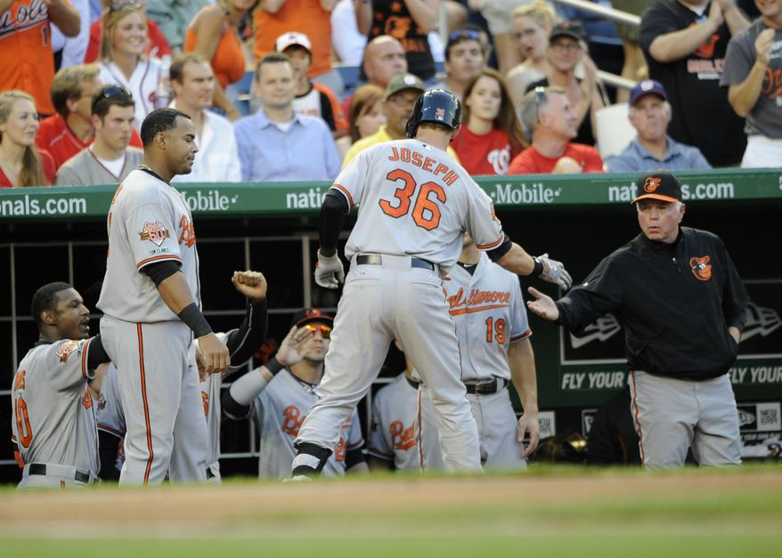 Baltimore Orioles' Caleb Joseph (36) is greeted at the dugout by manager Buck Showalter, right, and others after he hit a home run during the third inning of a baseball game against the Washington Nationals, Monday, Aug. 4, 2014, in Washington. (AP Photo/Nick Wass)