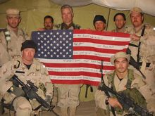 """Retired Army Lt. Col. Max Bowers (back, center) called Mullah Mohammad Fazl """"one of the hardest-looking people I had ever seen in my life."""" Col. Bowers was the ground commander of the three special operations teams who secretly rode on horseback in Afghanistan shortly after the Sept. 11, 2001, attacks to root out the Taliban and al Qaeda. (USASOC)"""