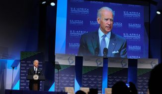Vice President Joseph R. Biden opened the U.S. Africa Summit Monday by lecturing the leaders on the importance of clearing out corruption from their governments. President Obama has gathered nearly 50 African heads of state in Washington for an unprecedented summit. (Associated Press)