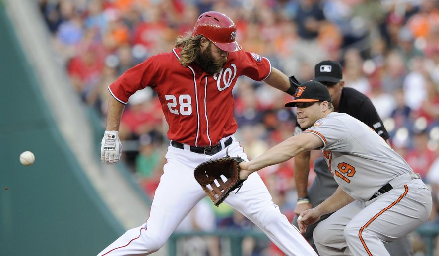 ** FILE ** Washington Nationals' Jayson Werth (28) gets back to first safely on a pickoff attempt as Baltimore Orioles first baseman Chris Davis (19) awaits the ball during the first inning of a baseball game, Monday, Aug. 4, 2014, in Washington. (AP Photo/Nick Wass)