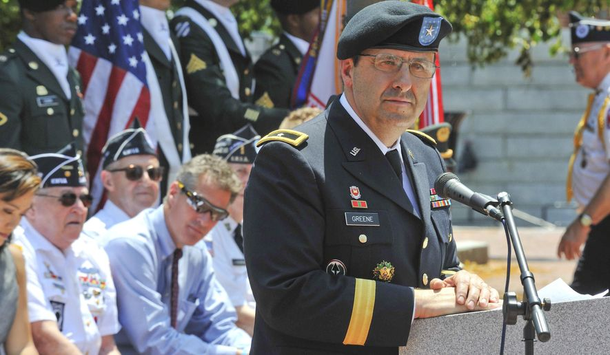 In this May 10, 2011, photo provided by the U.S. Army, then-Brig. Gen. Harold Greene speaks at Natick, Mass., on his last day of command of the Natick Soldier Systems Center. Maj. Gen. Greene, the two-star Army general who on Tuesday, Aug. 5, 2014,  became the highest-ranking U.S. military officer to be killed in either of America's post-9/11 wars, was an engineer who rose through the ranks as an expert in developing and fielding the Army's war materiel. He was on his first deployment to a war zone.(AP Photo/U.S. Army)