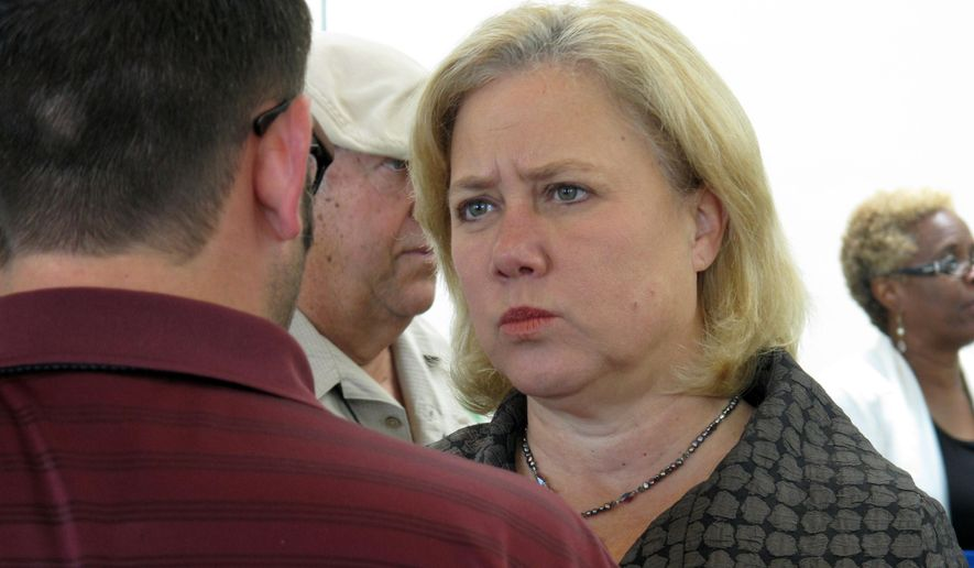 FILE - In this Aug. 2, 2014 file photo, Sen. Mary Landrieu speaks to local elected officials at the Louisiana Municipal Association's annual convention in Baton Rouge, La. Landrieu critics are hoping to use her support of abortion rights to undermine her bid to be re-elected to a fourth term. (AP Photo/Melinda Deslatte, File)