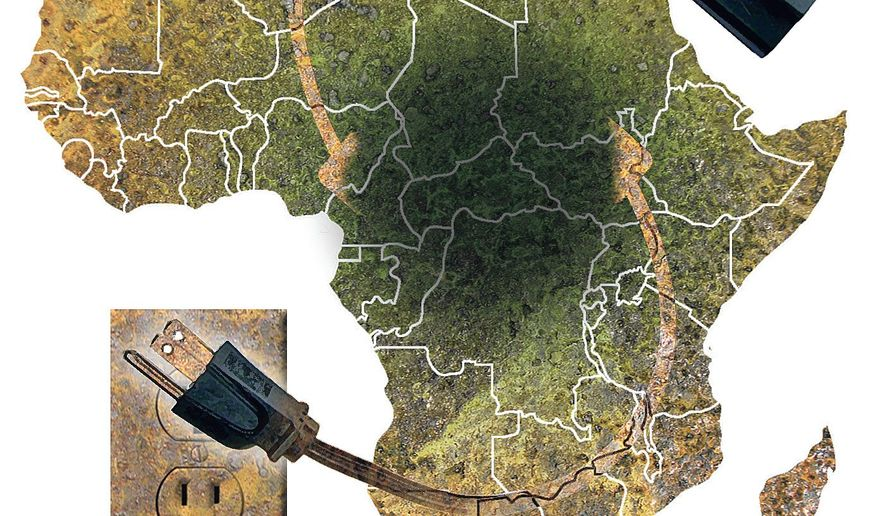 Illustration on African electricity needs by Alexander Hunter/The Washington Times