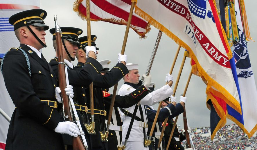 A U.S. military color guard during opening ceremonies of a NASCAR race. (Defense Dept. photo)