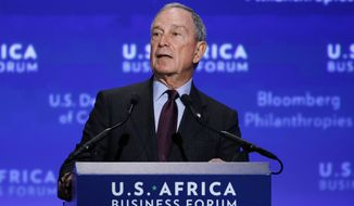 **FILE** Michael Bloomberg welcomes leaders to the U.S.-Africa Business Forum during the U.S.-Africa Leaders Summit at the Mandarin Oriental Hotel in Washington, Tuesday, Aug. 5, 2014. Nearly 50 African heads of state are gathering in Washington for an unprecedented summit. (AP Photo/Jacquelyn Martin)