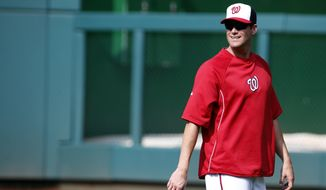 Washington Nationals pitcher Matt Thornton walks on the field before a baseball game against the New York Mets at Nationals Park Wednesday, Aug. 6, 2014, in Washington. Thornton was acquired on a waiver claim from the New York Yankees on Tuesday. (AP Photo/Alex Brandon)